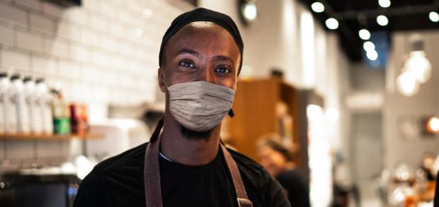 Restaurant owner preparing for COVID-19 precautions