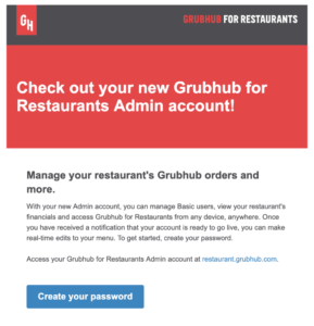 grubhub for restaurants email to set up admin account for new users