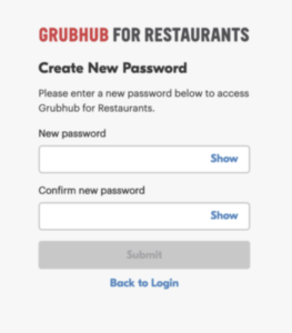 create a new password for your grubhub for restaurants account