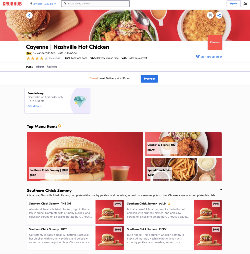 Cayenne's menu is optimized for online ordering success
