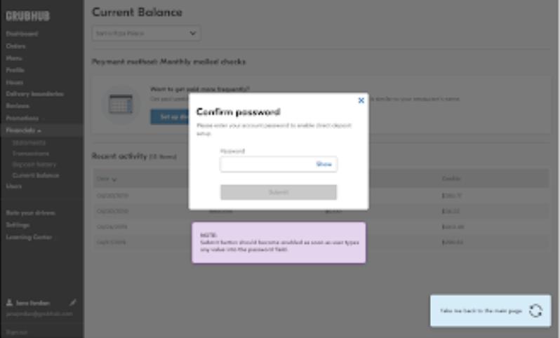 admin confirm password popup screenshot