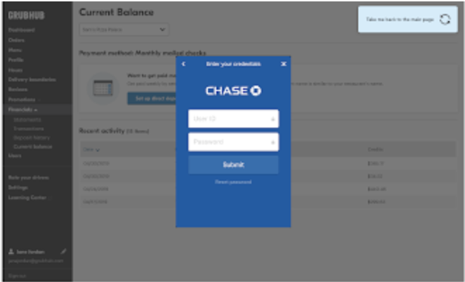screenshot of bank login within Grubhub for Restaurants