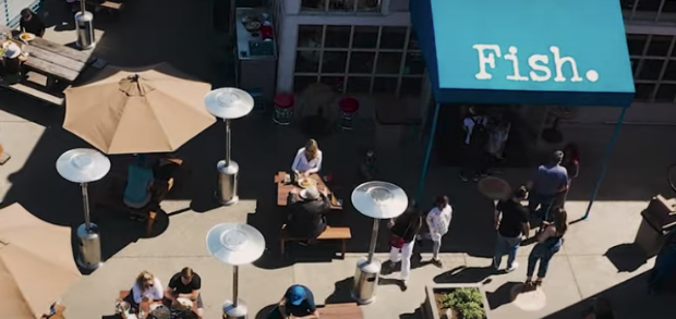 Birds eye view of Fish, a sustainable seafood restaurant that found success on the Grubhub platform