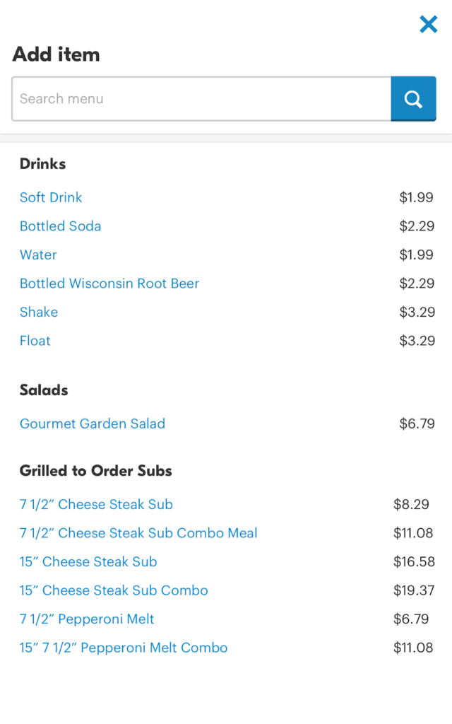 screenshot on how to add items to a Grubhub order