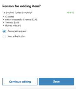screenshot on where to provide a reason for the order adjustment