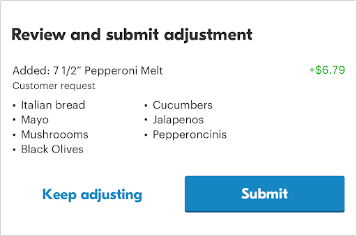 review and submit order adjustment screenshot