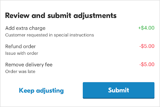 custom order adjustment screenshot