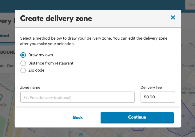 screenshot of create delivery zone in Grubhub for Restaurants