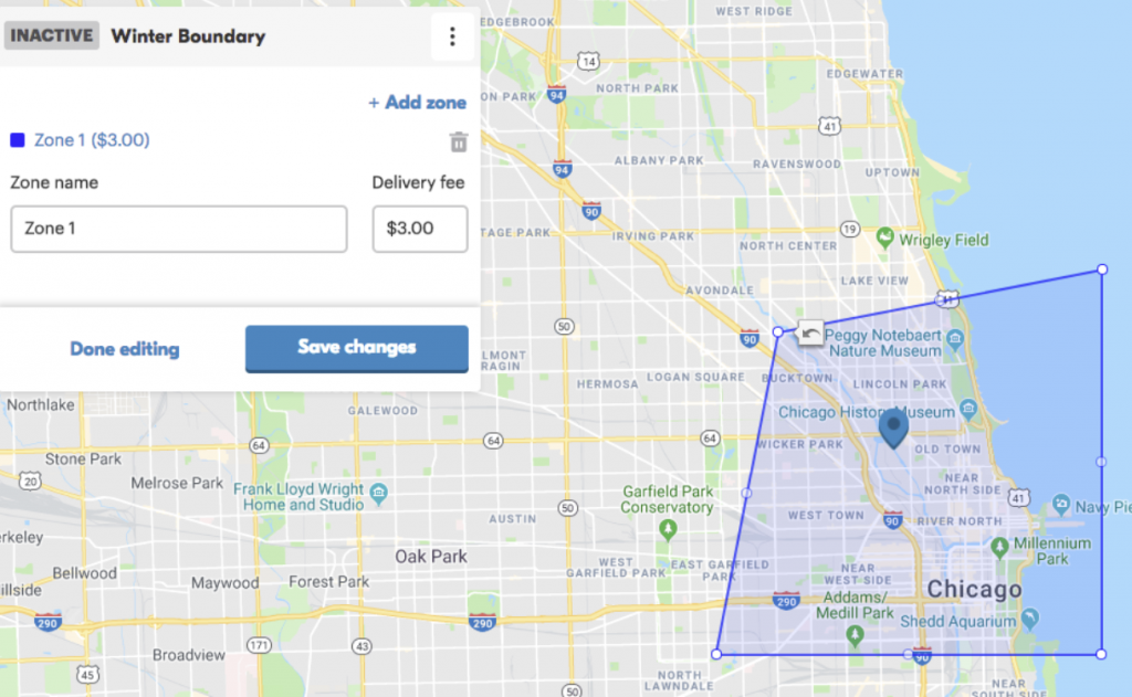 Screenshot of how to edit delivery boundary