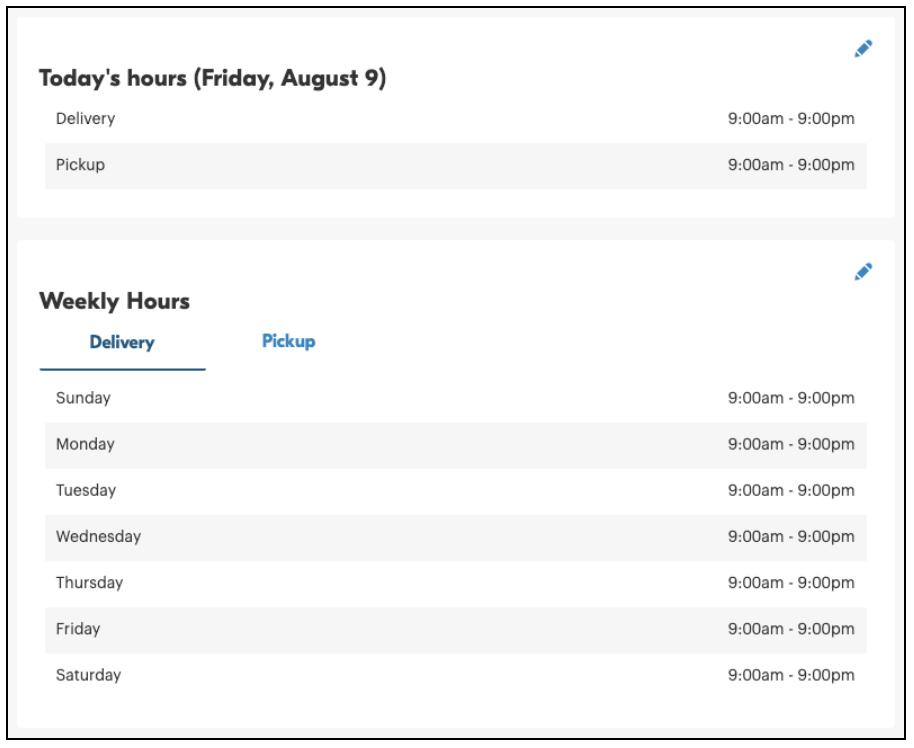 screenshot of restaurant hours within Grubhub for Restaurants