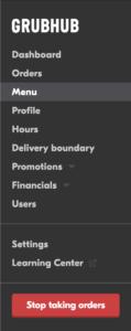 screenshot of Grubhub for Restaurants left hand navigation menu