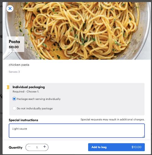 screenshot of catering option in the Grubhub app