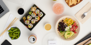 photo of a Grubhub catered meal for an office