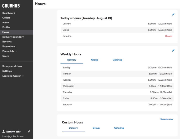 screenshot of Grubhub for Restaurants portal