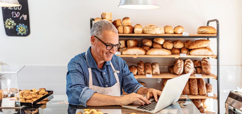 Cafe owner building a restaurant website