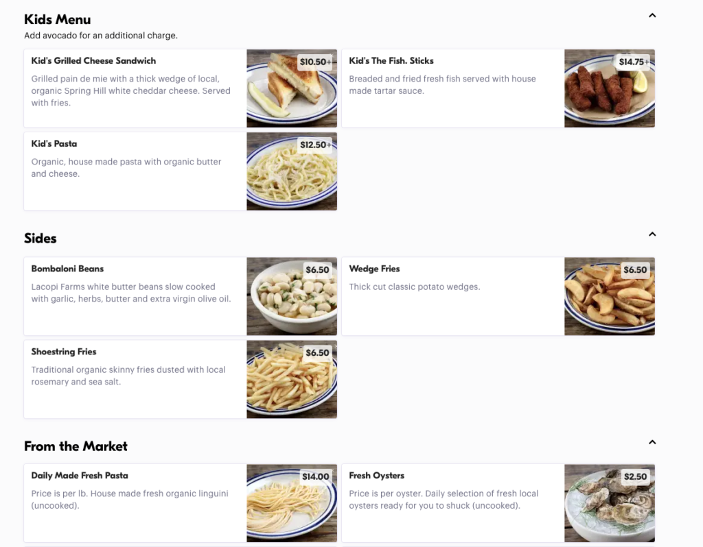 example of food photos in a delivery menu