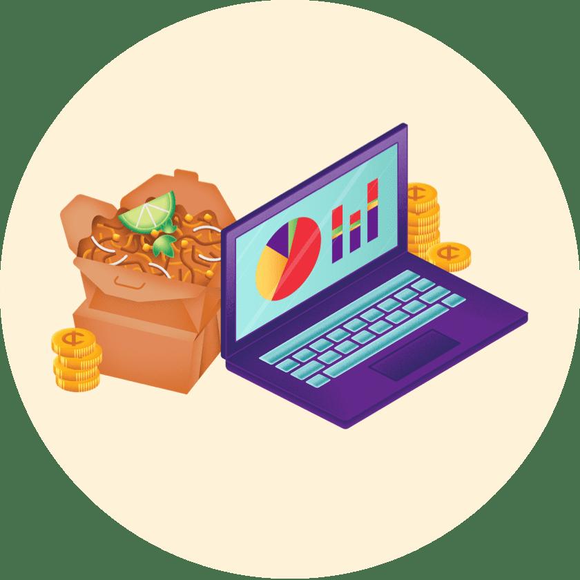 Grubhub profit calculator on a laptop